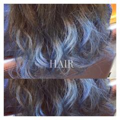 ブルー ハイライト 外国人風 グラデーションカラー ヘアスタイルや髪型の写真・画像