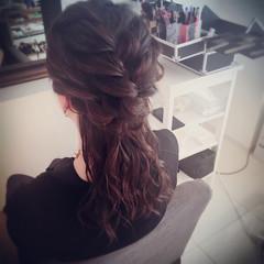セミロング ハーフアップ フェミニン ショート ヘアスタイルや髪型の写真・画像