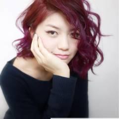 外国人風 モテ髪 レッド ピンク ヘアスタイルや髪型の写真・画像