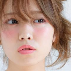 ミディアム フェミニン ハーフアップ ショート ヘアスタイルや髪型の写真・画像