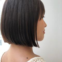 ミニボブ 切りっぱなしボブ ストレート 髪質改善 ヘアスタイルや髪型の写真・画像