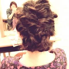 ナチュラル 結婚式 セミロング ヘアアレンジ ヘアスタイルや髪型の写真・画像