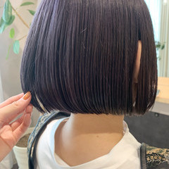 ブルーバイオレット バイオレットカラー ミニボブ ストリート ヘアスタイルや髪型の写真・画像