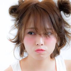 ヘアアレンジ フェミニン ミディアム ピュア ヘアスタイルや髪型の写真・画像