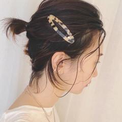簡単ヘアアレンジ 切りっぱなしボブ ヘアアレンジ ナチュラル ヘアスタイルや髪型の写真・画像