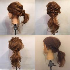 フェミニン ポニーテール ヘアアレンジ 結婚式 ヘアスタイルや髪型の写真・画像