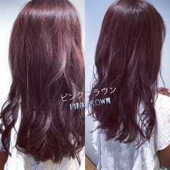 ヘアカラー ピンクブラウン ヘアアレンジ アイロンワーク ヘアスタイルや髪型の写真・画像