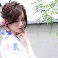 花火大会 デート まとめ髪 和装 ヘアスタイルや髪型の写真・画像