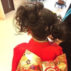 編み込み 和装 着物 ミディアム ヘアスタイルや髪型の写真・画像