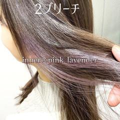インナーカラー ロング ヘアカラー インナーピンク ヘアスタイルや髪型の写真・画像