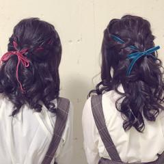 ロング ふわふわ ハーフアップ ガーリー ヘアスタイルや髪型の写真・画像