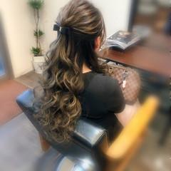 ロング ヘアアレンジ ヘアセット ハーフアップ ヘアスタイルや髪型の写真・画像