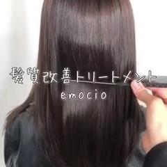髪質改善カラー 髪質改善トリートメント セミロング チョコレート ヘアスタイルや髪型の写真・画像