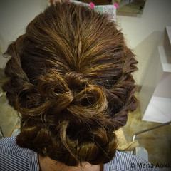 フェミニン ロープ編み ヘアアレンジ セミロング ヘアスタイルや髪型の写真・画像