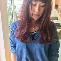 ロング パープル ピンク ゆるふわ ヘアスタイルや髪型の写真・画像