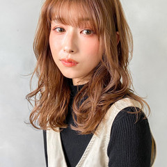 結婚式 韓国ヘア セミロング レイヤーカット ヘアスタイルや髪型の写真・画像