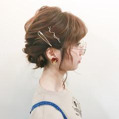 ヘアアレンジ ナチュラル アッシュグレージュ セミロング ヘアスタイルや髪型の写真・画像