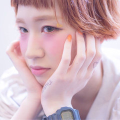 ショート ショートバング オレンジ ショートボブ ヘアスタイルや髪型の写真・画像