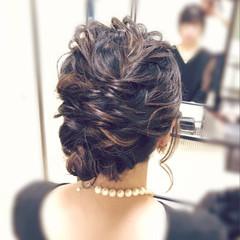 結婚式 コンサバ ヘアアレンジ ミディアム ヘアスタイルや髪型の写真・画像