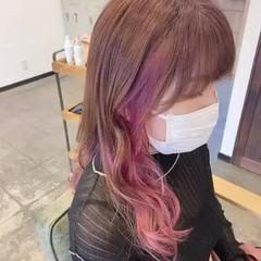 ラベンダーピンク セミロング ピンク ナチュラル ヘアスタイルや髪型の写真・画像