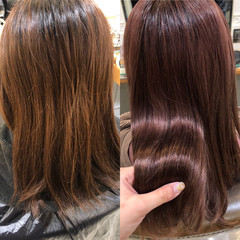セミロング 髪質改善トリートメント 髪質改善カラー 艶髪 ヘアスタイルや髪型の写真・画像