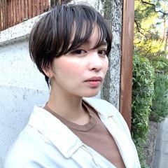 ショート パーマ マッシュ ナチュラル ヘアスタイルや髪型の写真・画像