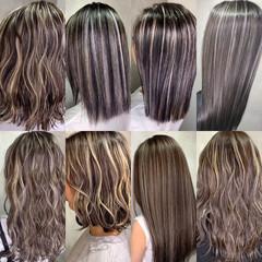 バレイヤージュ ホワイトシルバー ホワイトブリーチ モード ヘアスタイルや髪型の写真・画像