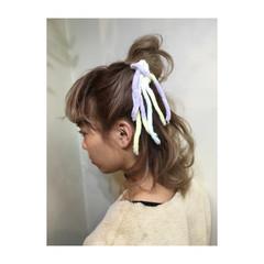 切りっぱなし ヘアアレンジ ハーフアップ 簡単ヘアアレンジ ヘアスタイルや髪型の写真・画像