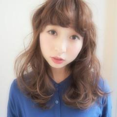 大人かわいい 透明感 ゆるふわ セミロング ヘアスタイルや髪型の写真・画像