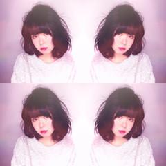 パーマ 前髪あり ピンク ガーリー ヘアスタイルや髪型の写真・画像