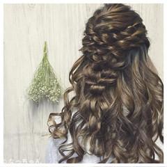 ヘアアレンジ ハーフアップ 結婚式 お呼ばれ ヘアスタイルや髪型の写真・画像
