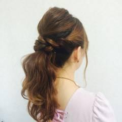 結婚式 ヘアアレンジ コンサバ ロング ヘアスタイルや髪型の写真・画像