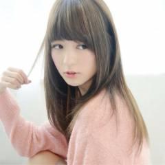 かわいい ナチュラル 丸顔 ストレート ヘアスタイルや髪型の写真・画像