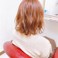 ナチュラル ミディアム オレンジカラー オレンジブラウン ヘアスタイルや髪型の写真・画像