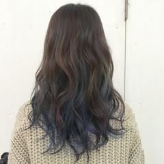 ブルー グラデーションカラー ネイビー ストリート ヘアスタイルや髪型の写真・画像
