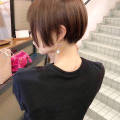 大人ショート ナチュラル マッシュ 黒髪 ヘアスタイルや髪型の写真・画像