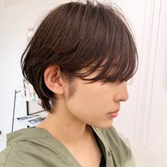 ショートボブ 簡単ヘアアレンジ ナチュラル 小顔ショート ヘアスタイルや髪型の写真・画像