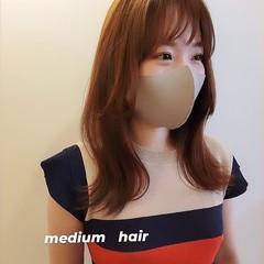くびれカール ナチュラル セミロング 韓国ヘア ヘアスタイルや髪型の写真・画像