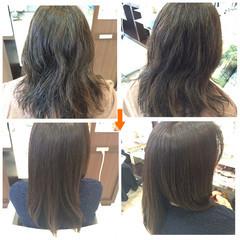 ナチュラル 縮毛矯正 パーマ セミロング ヘアスタイルや髪型の写真・画像