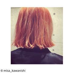 ストリート ピンク 外ハネ ハイトーン ヘアスタイルや髪型の写真・画像