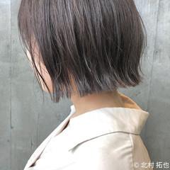透明感カラー ボブ 切りっぱなしボブ ブルージュ ヘアスタイルや髪型の写真・画像