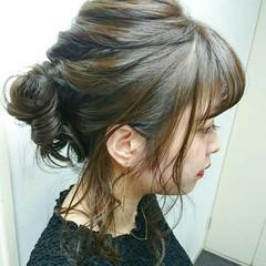 フェミニン ヘアアレンジ ミディアム 女子会 ヘアスタイルや髪型の写真・画像