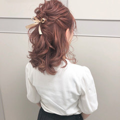 ヘアアレンジ フェミニン 簡単ヘアアレンジ 結婚式 ヘアスタイルや髪型の写真・画像