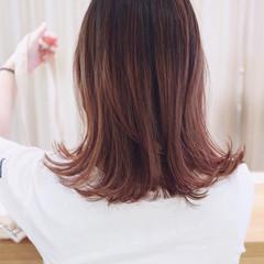 バレイヤージュ ピンク ラベンダーピンク ストリート ヘアスタイルや髪型の写真・画像