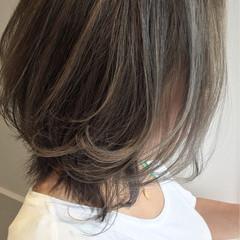 ハイライト 艶髪 アッシュ ボブ ヘアスタイルや髪型の写真・画像