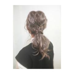 パーマ ヘアアレンジ 簡単 編み込み ヘアスタイルや髪型の写真・画像