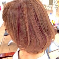 コンサバ ピンク 愛され レッド ヘアスタイルや髪型の写真・画像