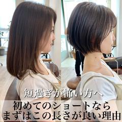 フェミニン ショートヘア ショート ショートボブ ヘアスタイルや髪型の写真・画像