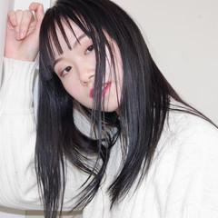 黒髪 暗髪 セミロング 暗髪女子 ヘアスタイルや髪型の写真・画像