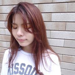 ラベンダーピンク セミロング ピンクアッシュ ピンクグレージュ ヘアスタイルや髪型の写真・画像